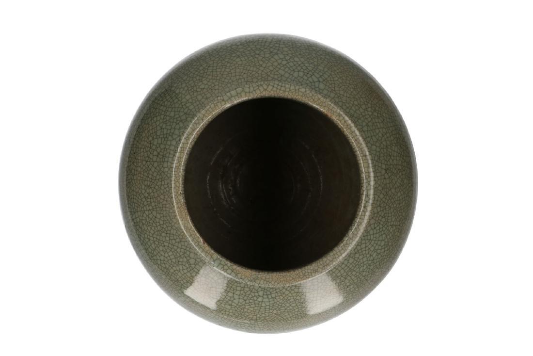 A celadon glazed vase. Unmarked. China, 20th century. - 4