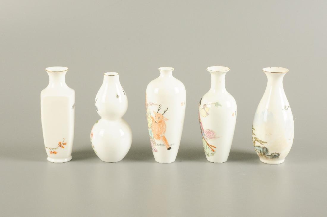 A lot of five polychrome eggshell porcelain vases. - 3