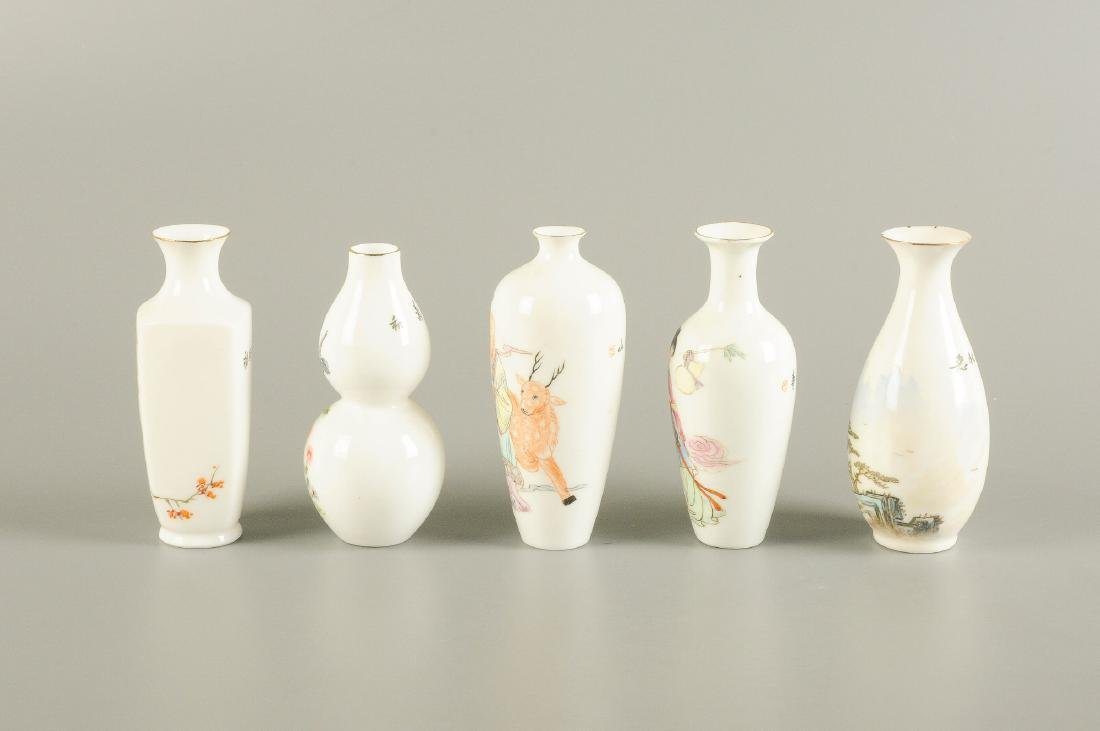 A lot of five polychrome eggshell porcelain vases. - 3
