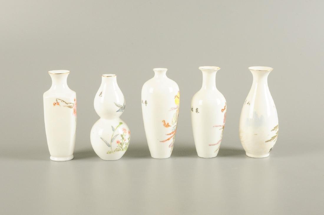 A lot of five polychrome eggshell porcelain vases. - 5