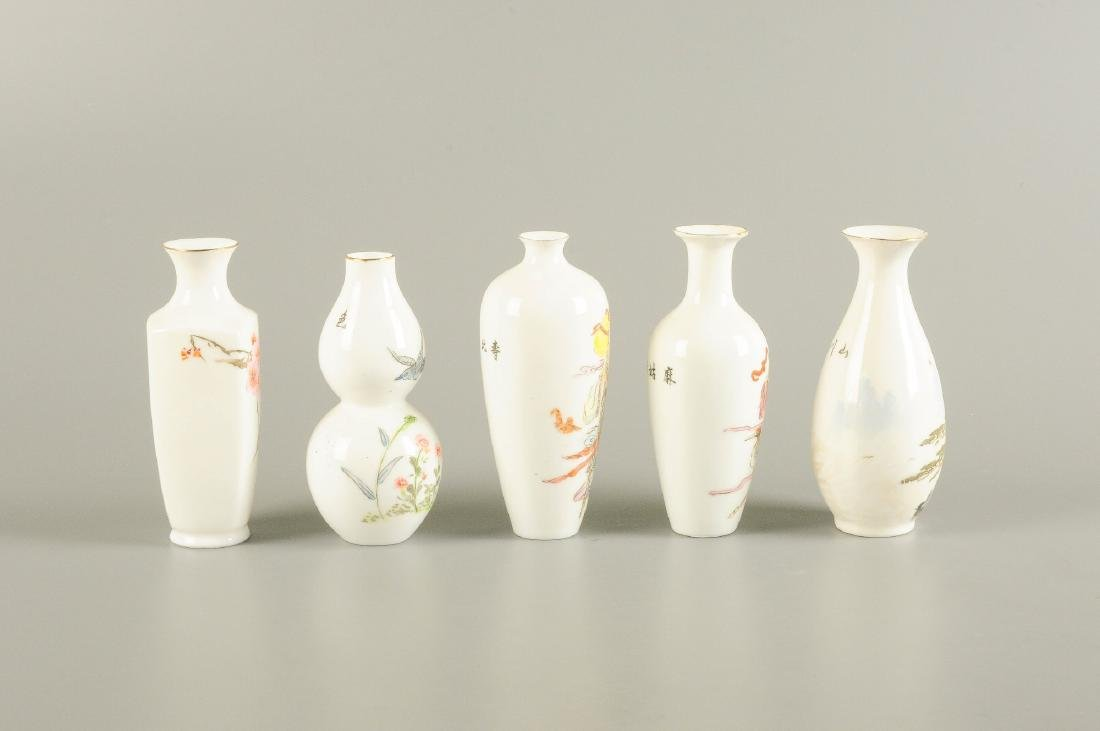 A lot of five polychrome eggshell porcelain vases. - 5