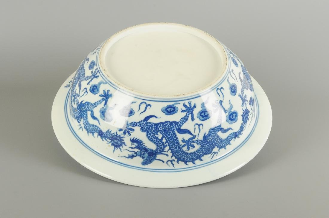 A blue and white porcelain large bowl, decorated with
