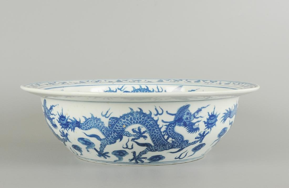 A blue and white porcelain large bowl, decorated with - 2