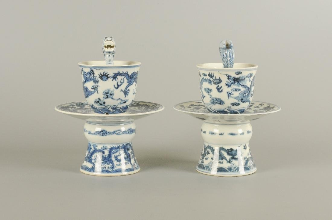 A pair of blue and white porcelain dragon puzzle cups - 2