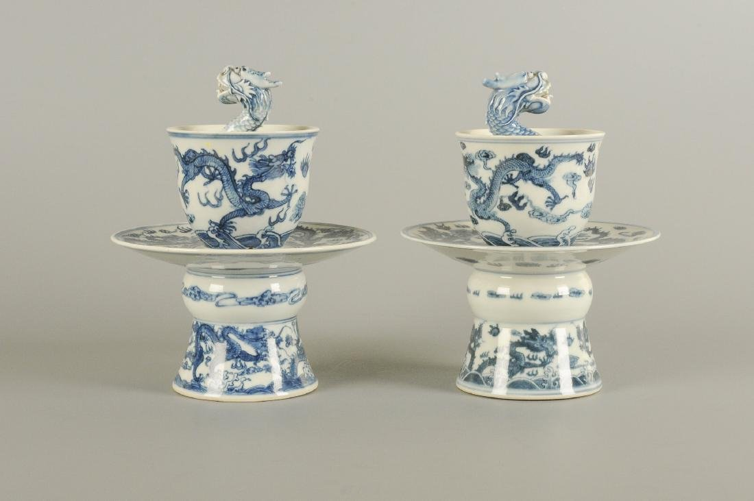 A pair of blue and white porcelain dragon puzzle cups - 3