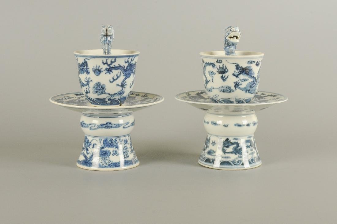 A pair of blue and white porcelain dragon puzzle cups - 4