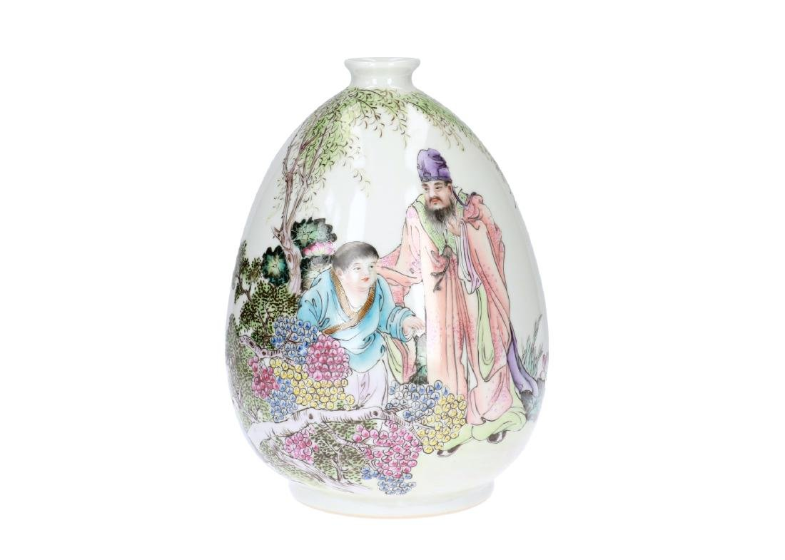 A polychrome porcelain vase decorated with figures,