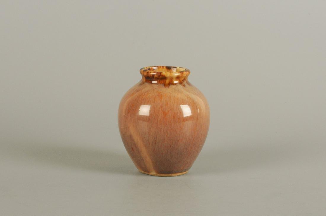 A polychrome glazed stoneware vase. Unmarked. China, - 4