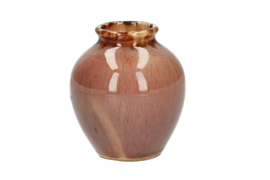 A polychrome glazed stoneware vase. Unmarked. China, - 5