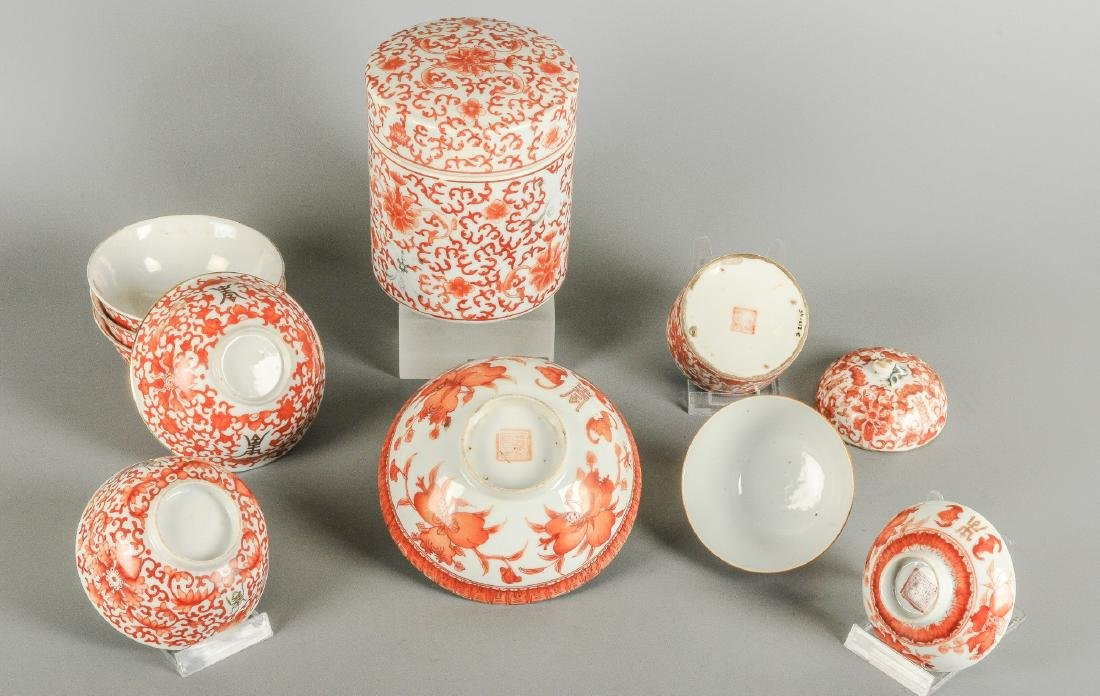 A lot of nine iron red porcelain objects with floral - 2