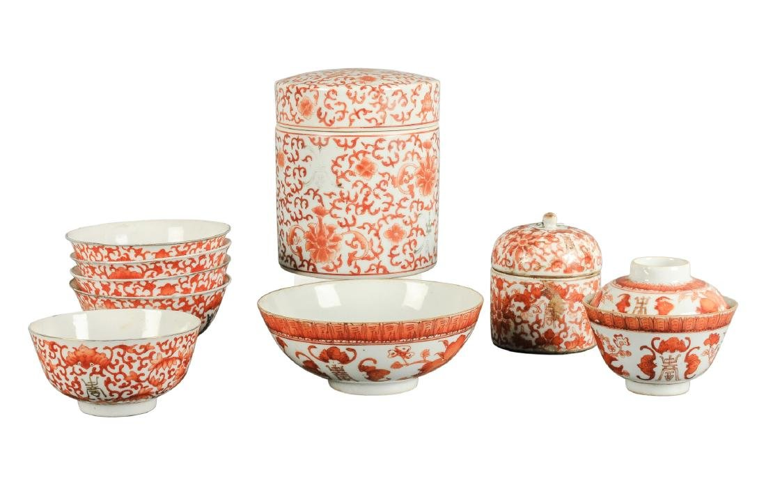 A lot of nine iron red porcelain objects with floral - 4