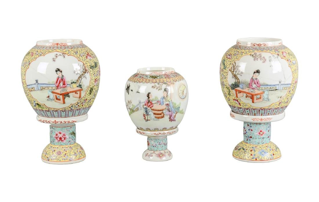A lot of three polychrome eggshell lanterns on stand,