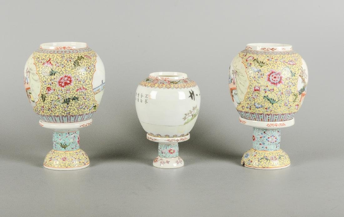 A lot of three polychrome eggshell lanterns on stand, - 5