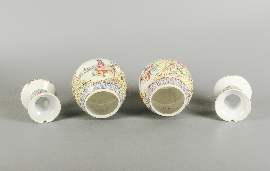 A lot of three polychrome eggshell lanterns on stand, - 7