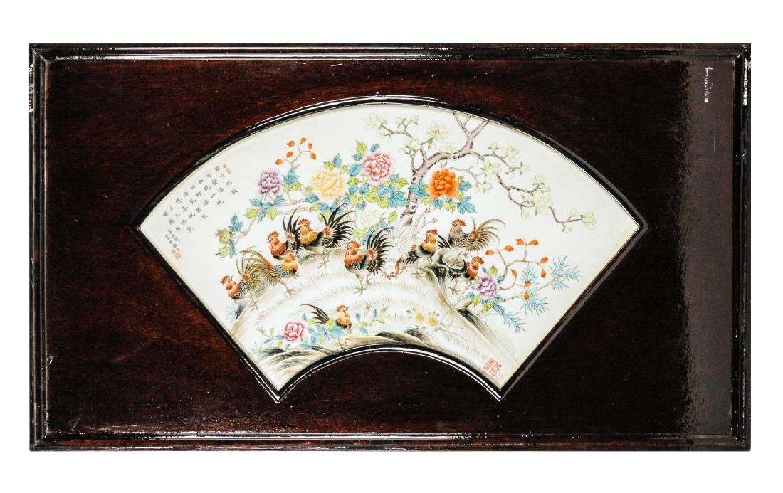 A fan-shaped polychrome porcelain plaque in wooden - 2