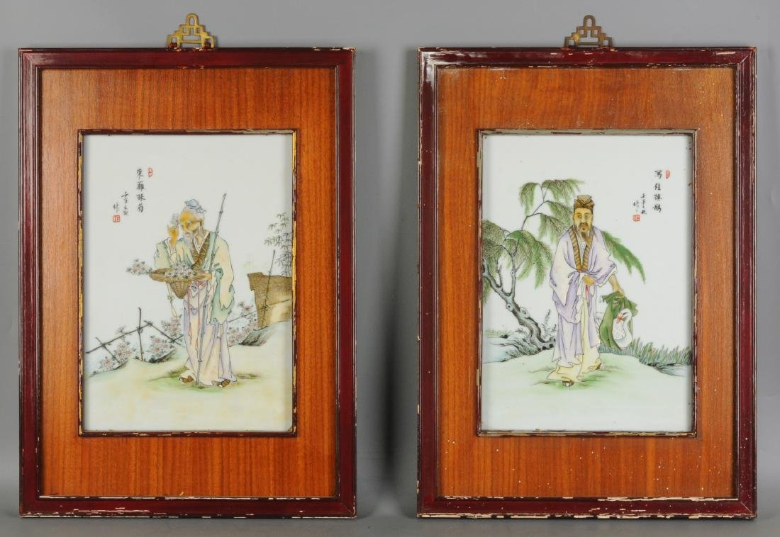 A lot of four polychrome porcelain plaques in wooden - 2