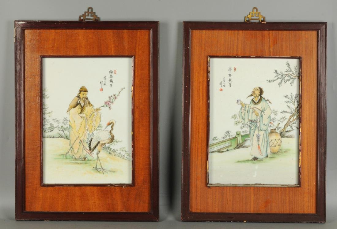 A lot of four polychrome porcelain plaques in wooden - 4