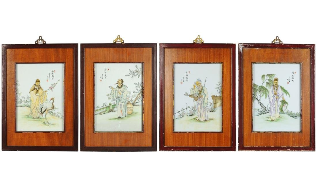A lot of four polychrome porcelain plaques in wooden - 5