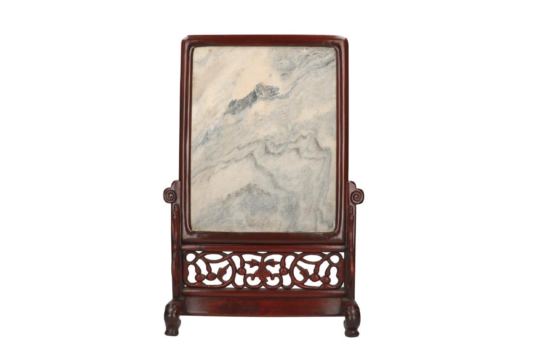A marble table screen in wooden frame and stand. China,