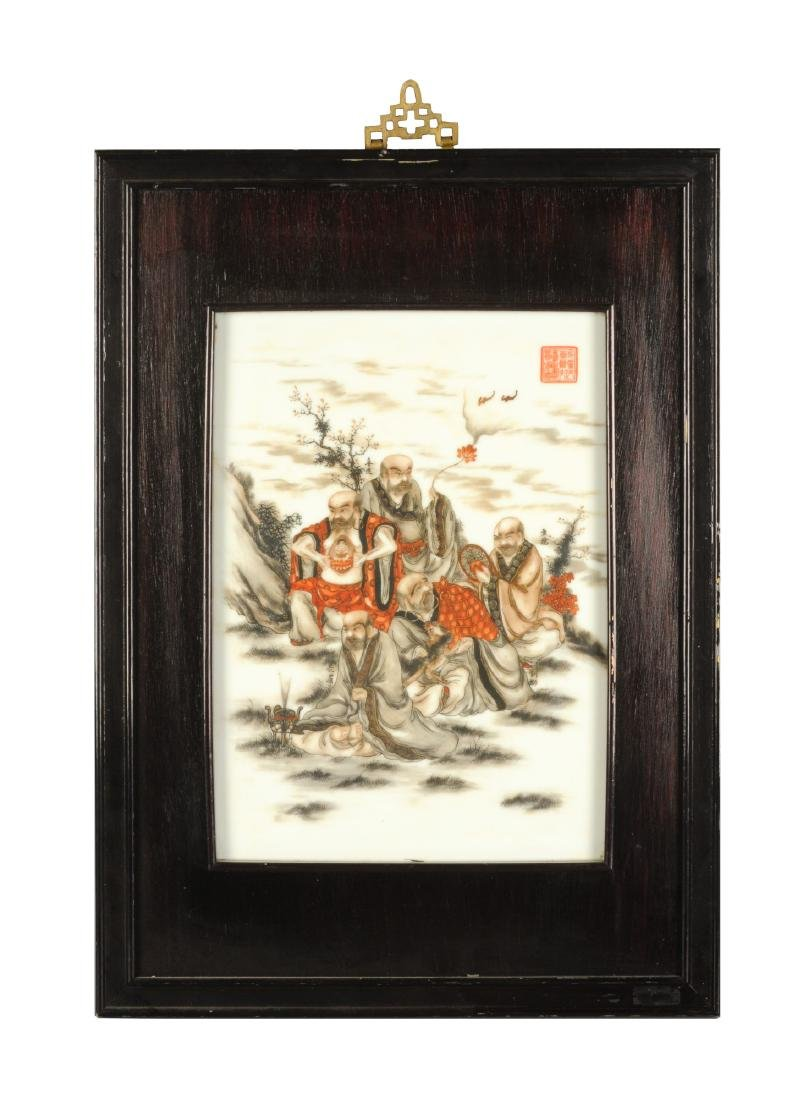 A polychrome porcelain plaque in wooden frame, - 2