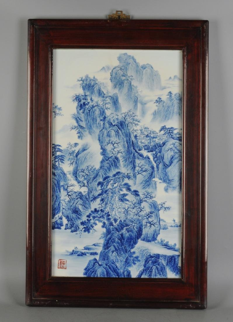 A lot of three blue and white porcelain plaques,