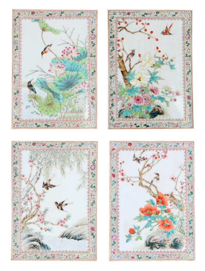 A lot of four polychrome porcelain plaques, decorated