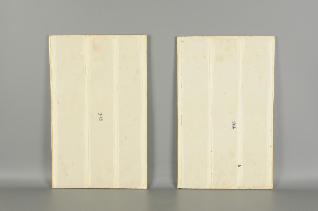 A lot of two polychrome porcelain plaques, decorated