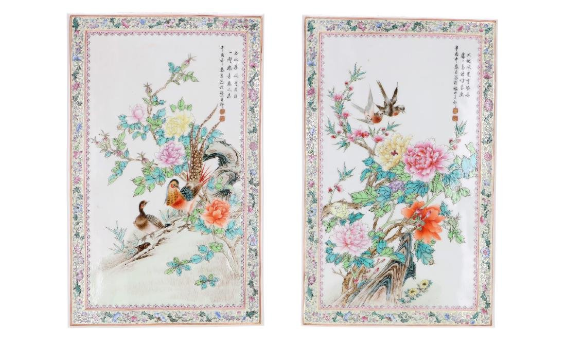 A lot of two polychrome porcelain plaques, decorated - 2
