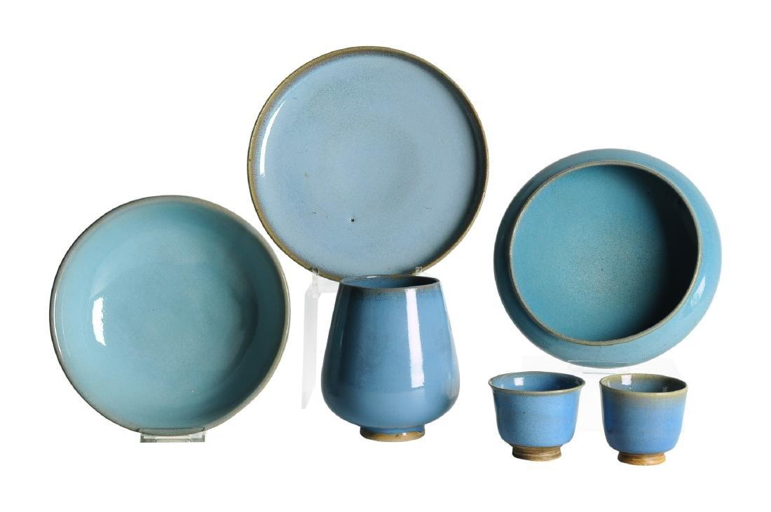 A lot of six Claire-de-Lune porcelain objects,