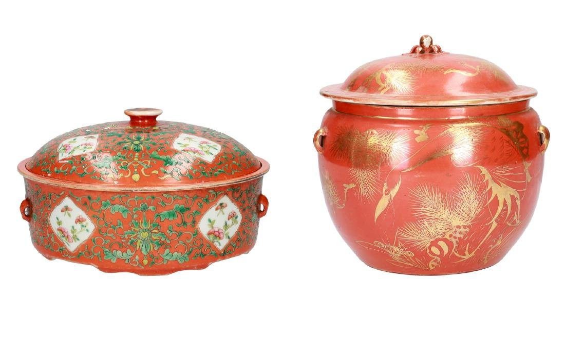 A lot of a coral red and gold porcelain lidded jar,