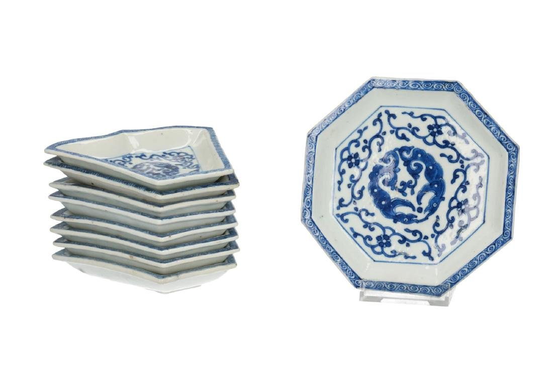 A nine-piece blue and white porcelain hors-d'oeuvre