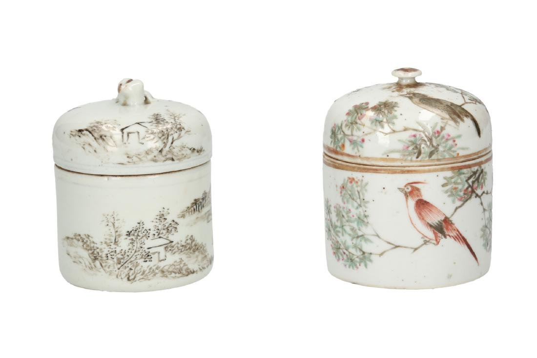 A lot of two polychrome porcelain lidded jars with
