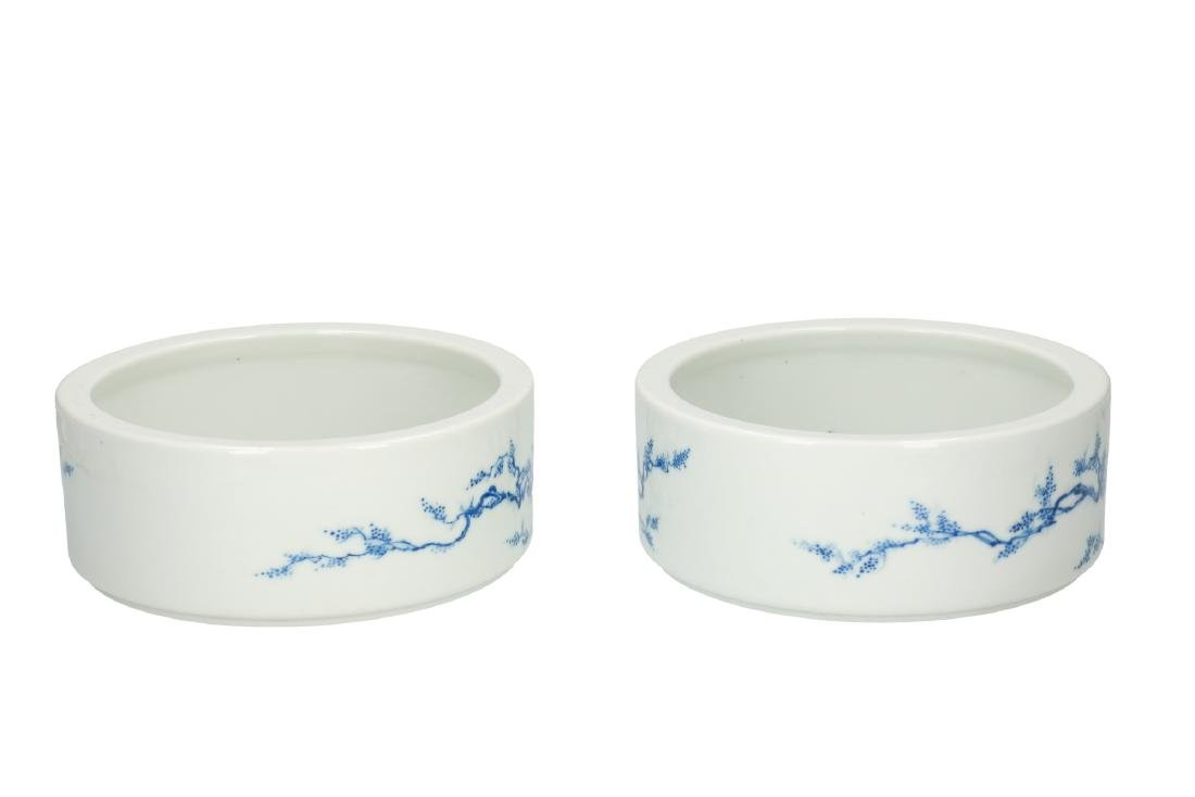 A lot of two blue and white porcelain deep bowls,