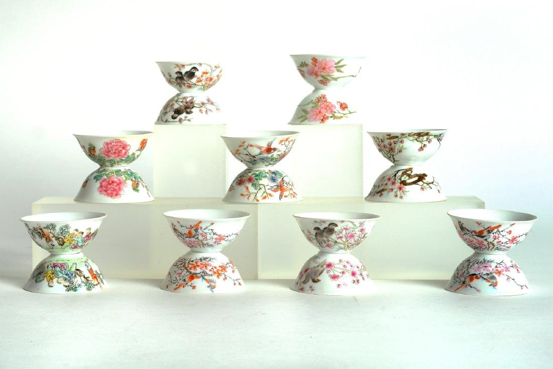 A lot of 18 polychrome porcelain cups, decorated with - 2