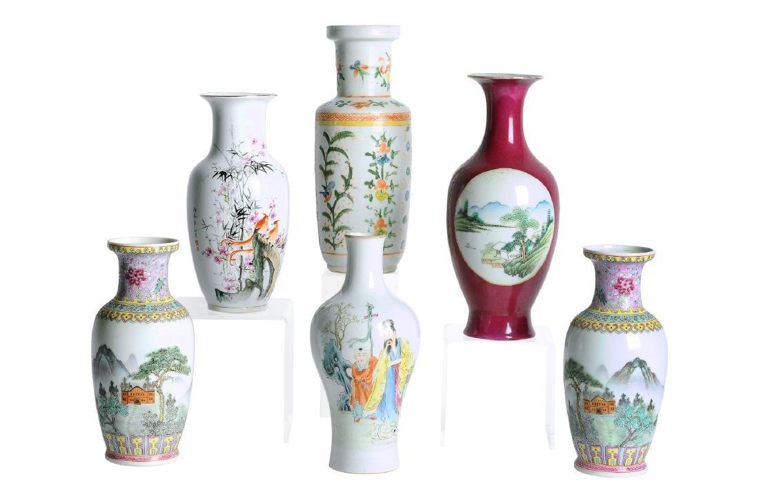 A various lot of six polychrome porcelain vases,