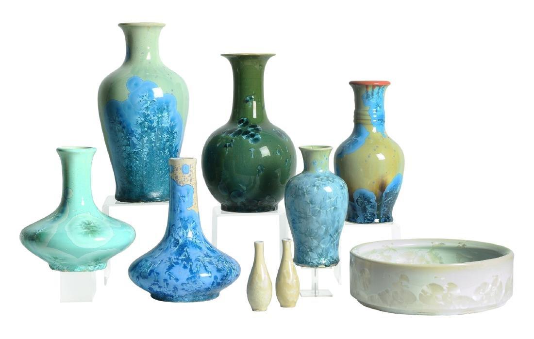 A lot of nine salt glazed porcelain objects, including