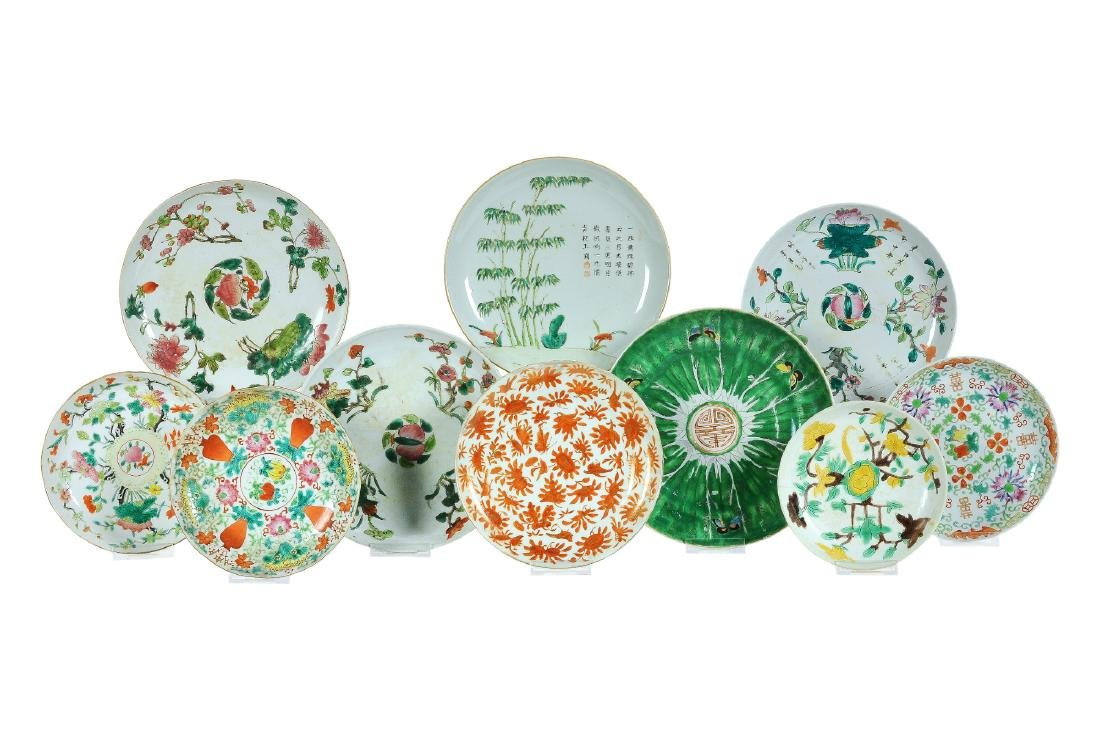 A lot of 10 polychrome porcelain plates, decorated with