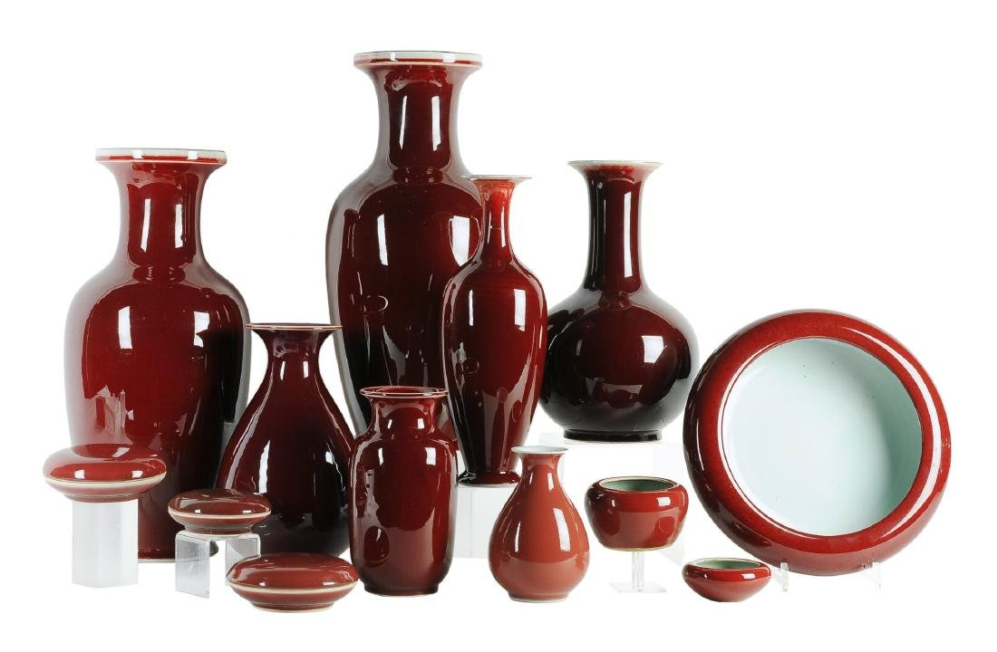A lot of 13 porcelain Sang-de-Boeuf objects, mainly