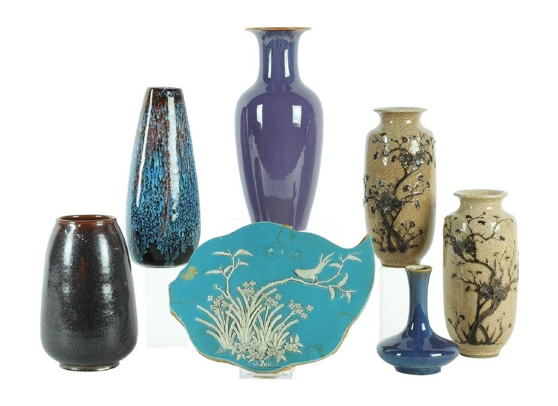 A lot of six porcelain vases and a porcelain plaque.