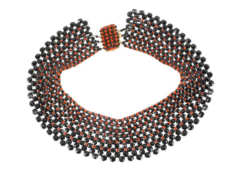 An Anonymous necklace, set with black glass and faux