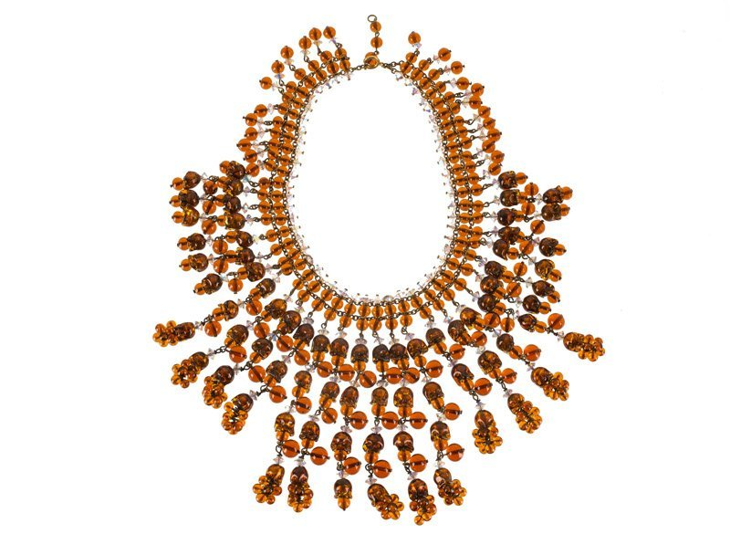 An Anonymous, lot of three; 1) Necklace, set with