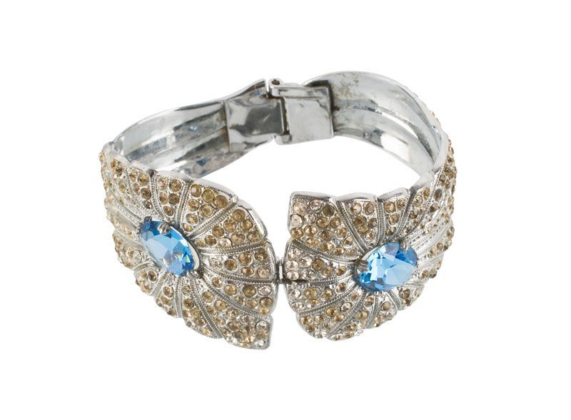 An Anonymous, lot of three; 1)silvertone bracelet, set