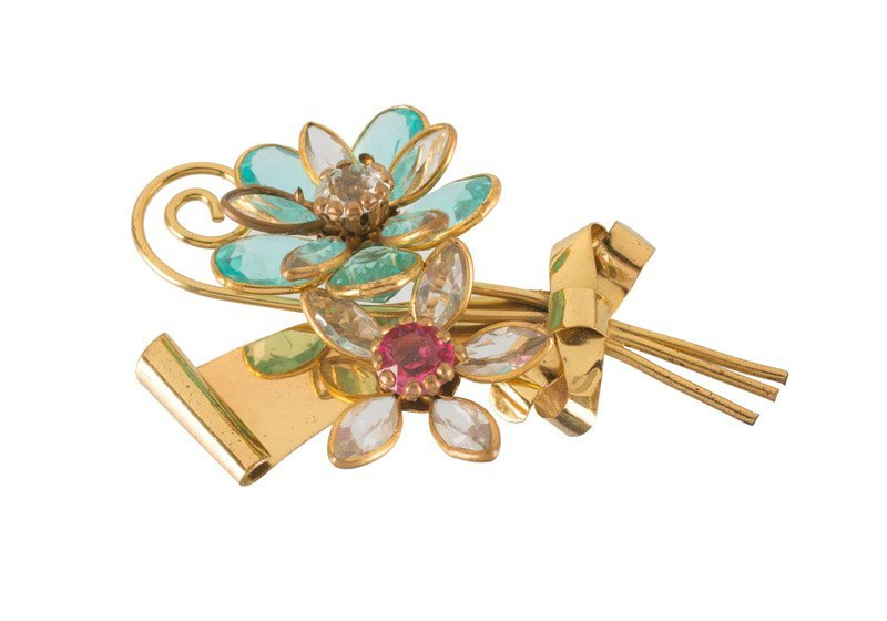 An Anonymous,  lot of various; 1) Goldtone floral