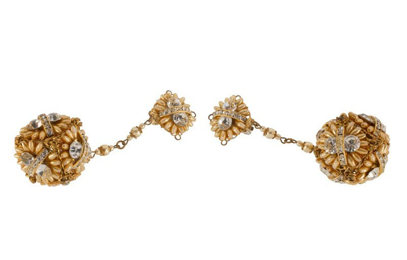 An Anonymous goldtone pair of earclips, set with