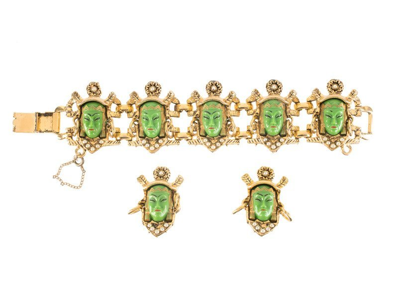 An Anonymous goldtone bracelet and pair of earclips,