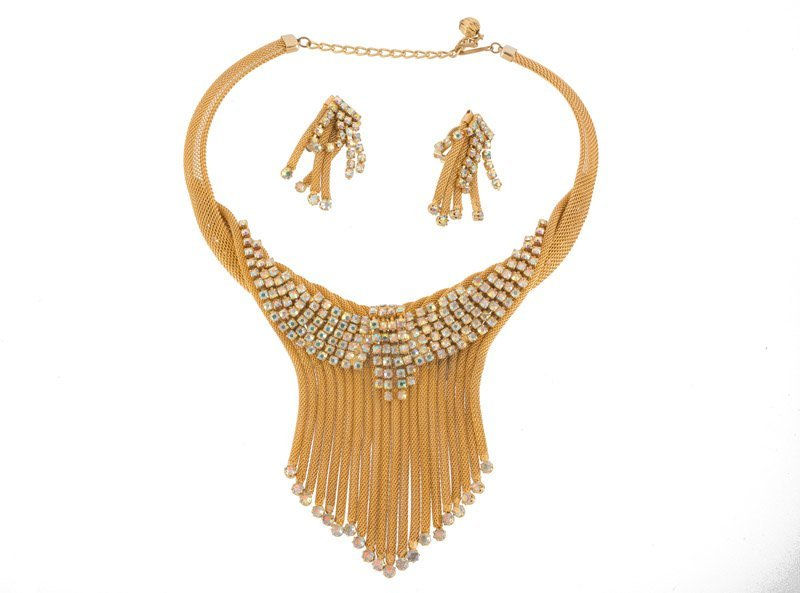 An Anonymous goldtone necklace and pair of earclips,
