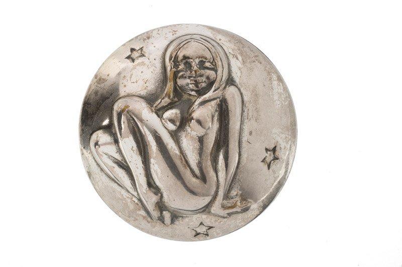 A Joseff Hollywood silvertone brooch, zodiac Virgin.