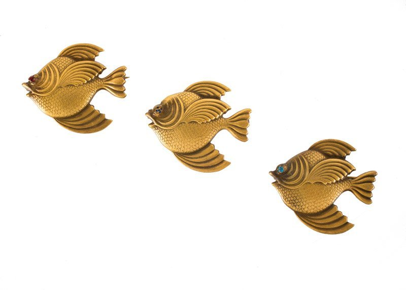Three Joseff Hollywood goldtone brooches in the shape
