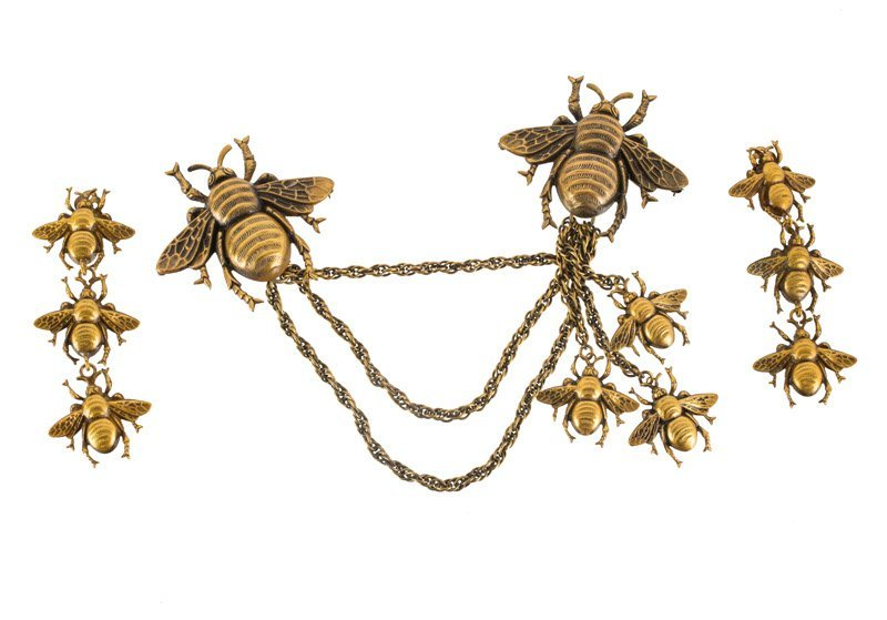 A Joseff Hollywood goldtone chatelaine and pair of