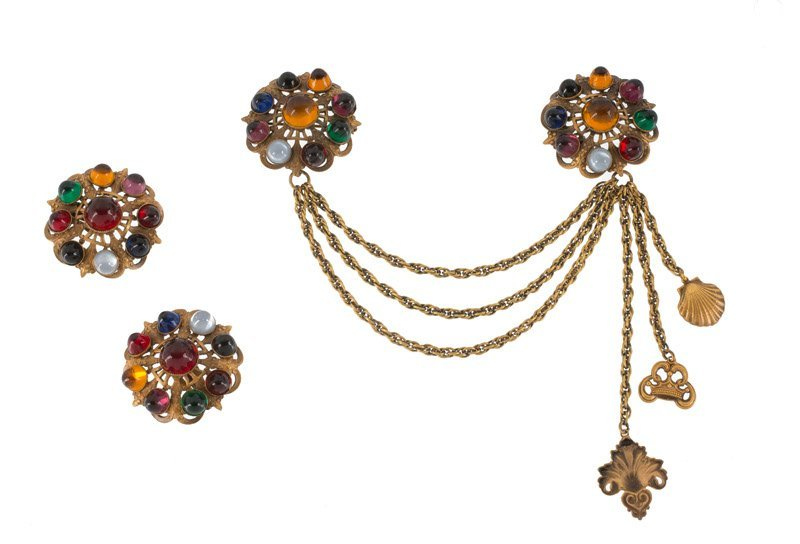 A Joseff Hollywood Chatelaine and pair of earclips, set
